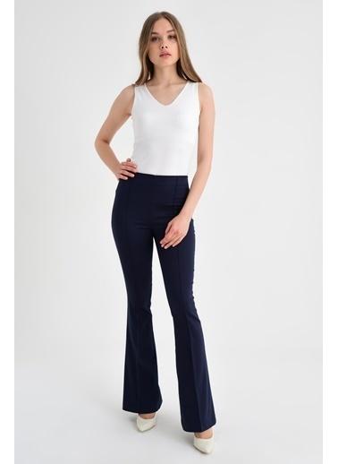Jument Ön Arka Dikişli Ispanyol Paça Tayt Pantolon -Mint Lacivert